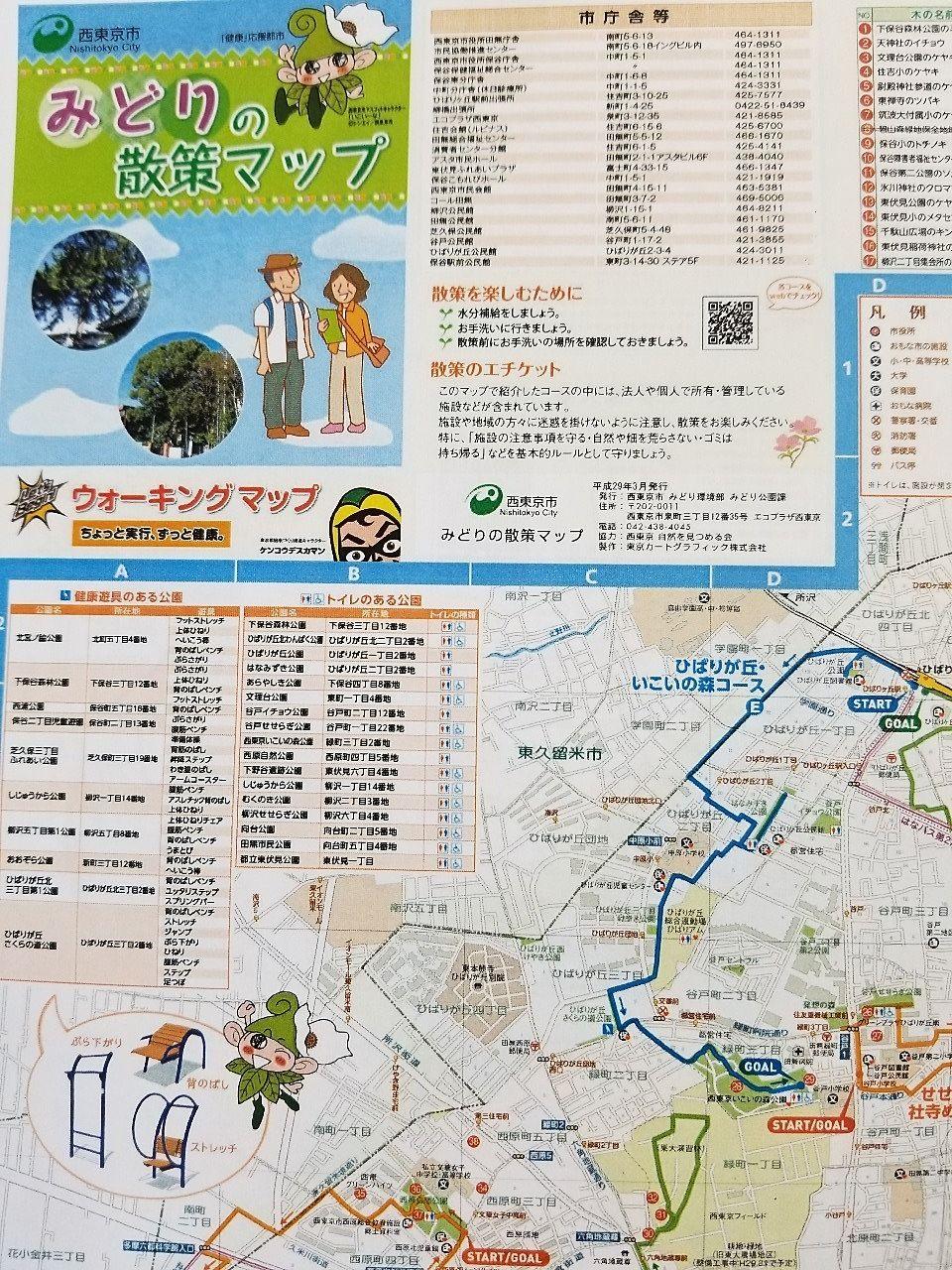 市役所で配布されるウオーキングマップ