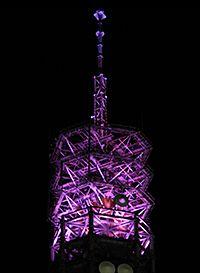 晴れの予報を表す紫色の田無(西東京)タワー
