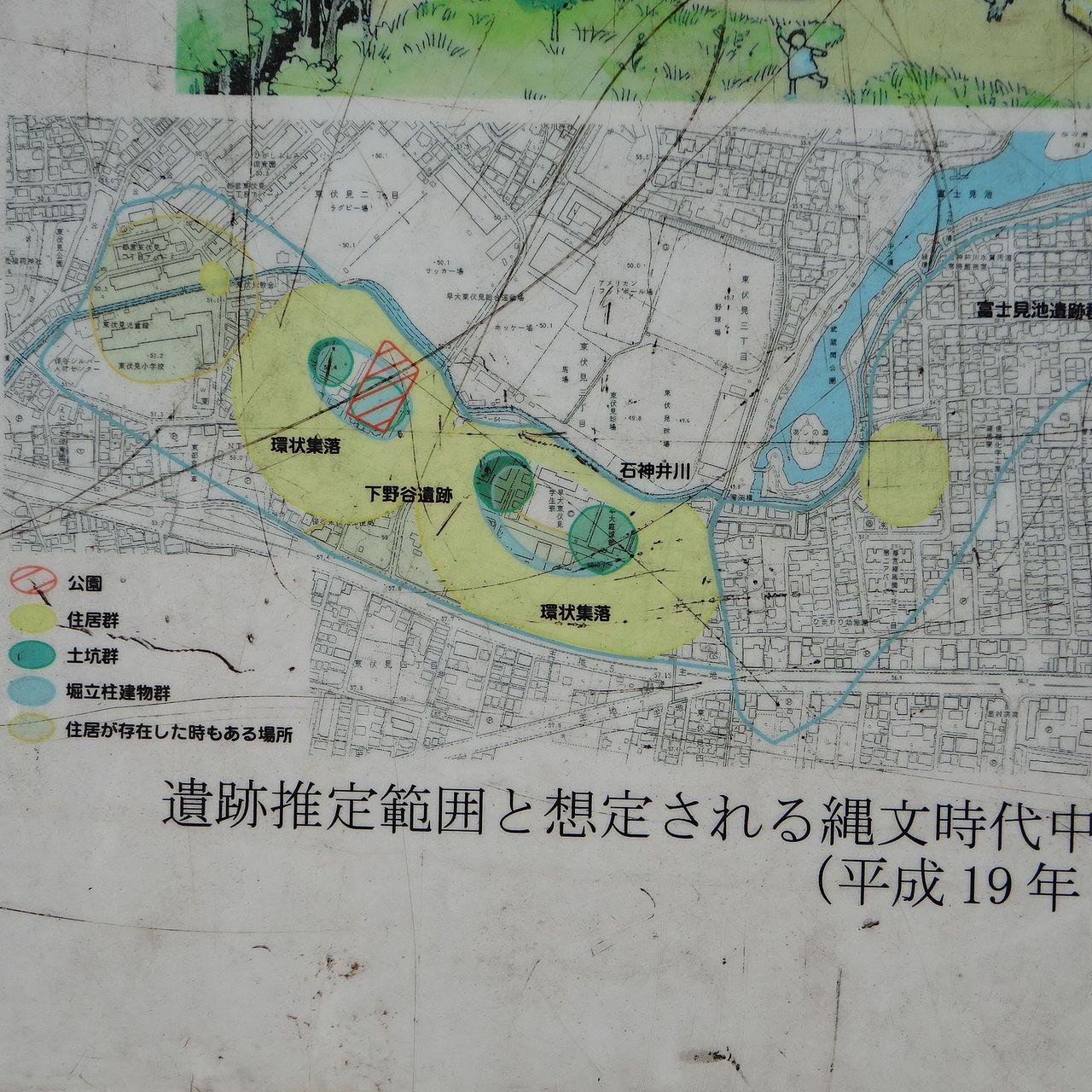 石神井川一帯に広がる集落の地図