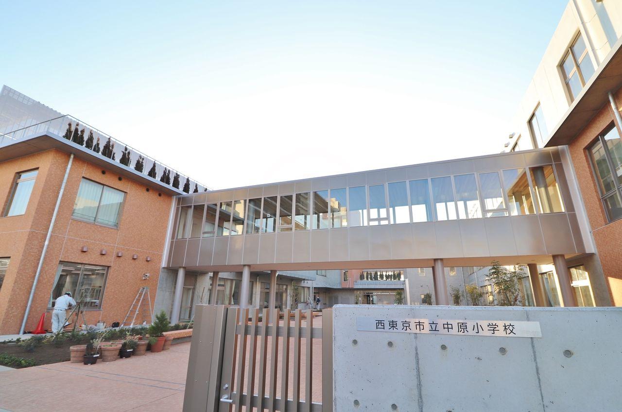 新しい中原小学校入口