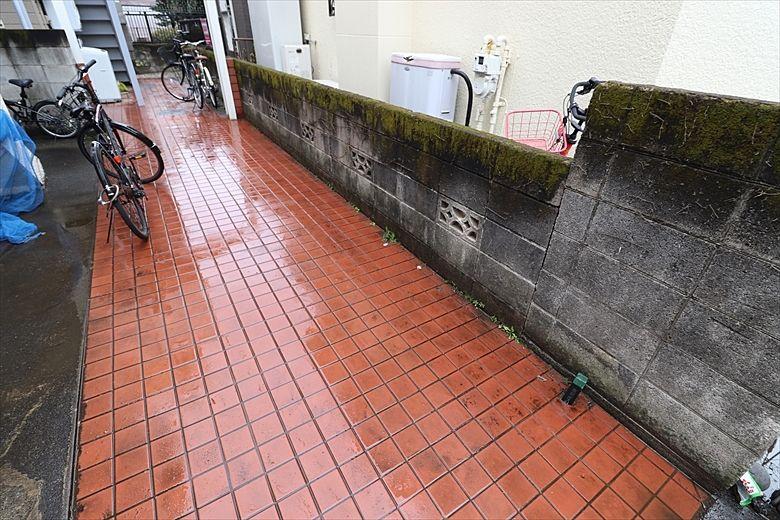 きれいになった塀の前