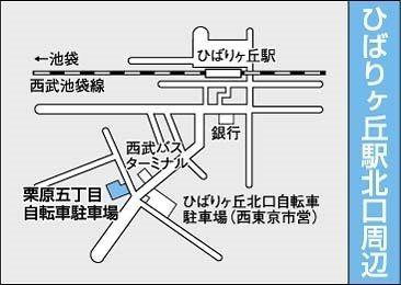 ひばりが丘北口にある新座市営の駐輪場地図