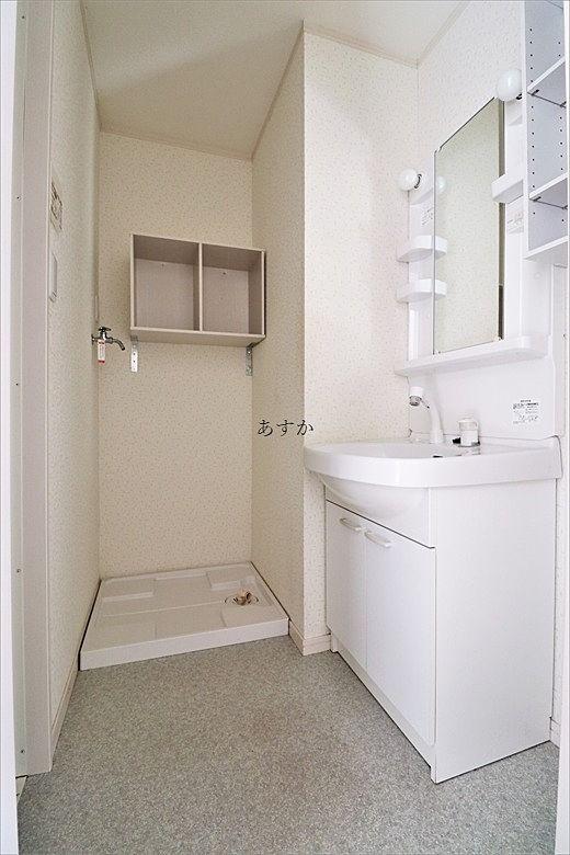 シャワー付き洗面台と洗濯機置き場