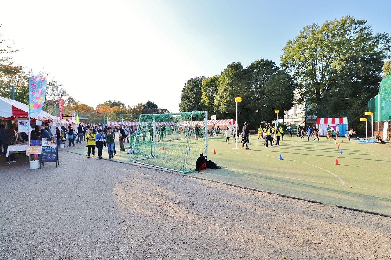 広い公園内のアスレチックコーナー