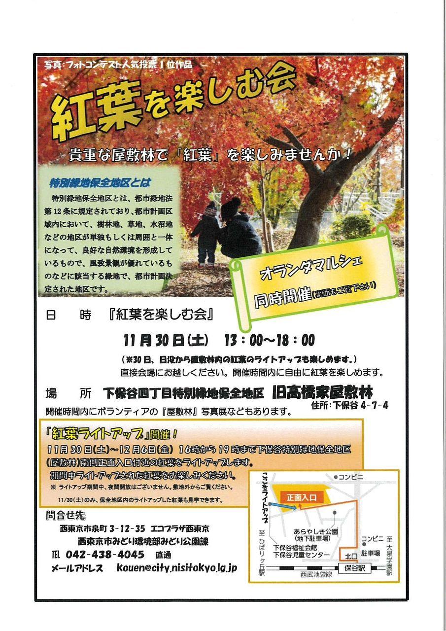 11月30日の紅葉を楽しむ会のチラシ