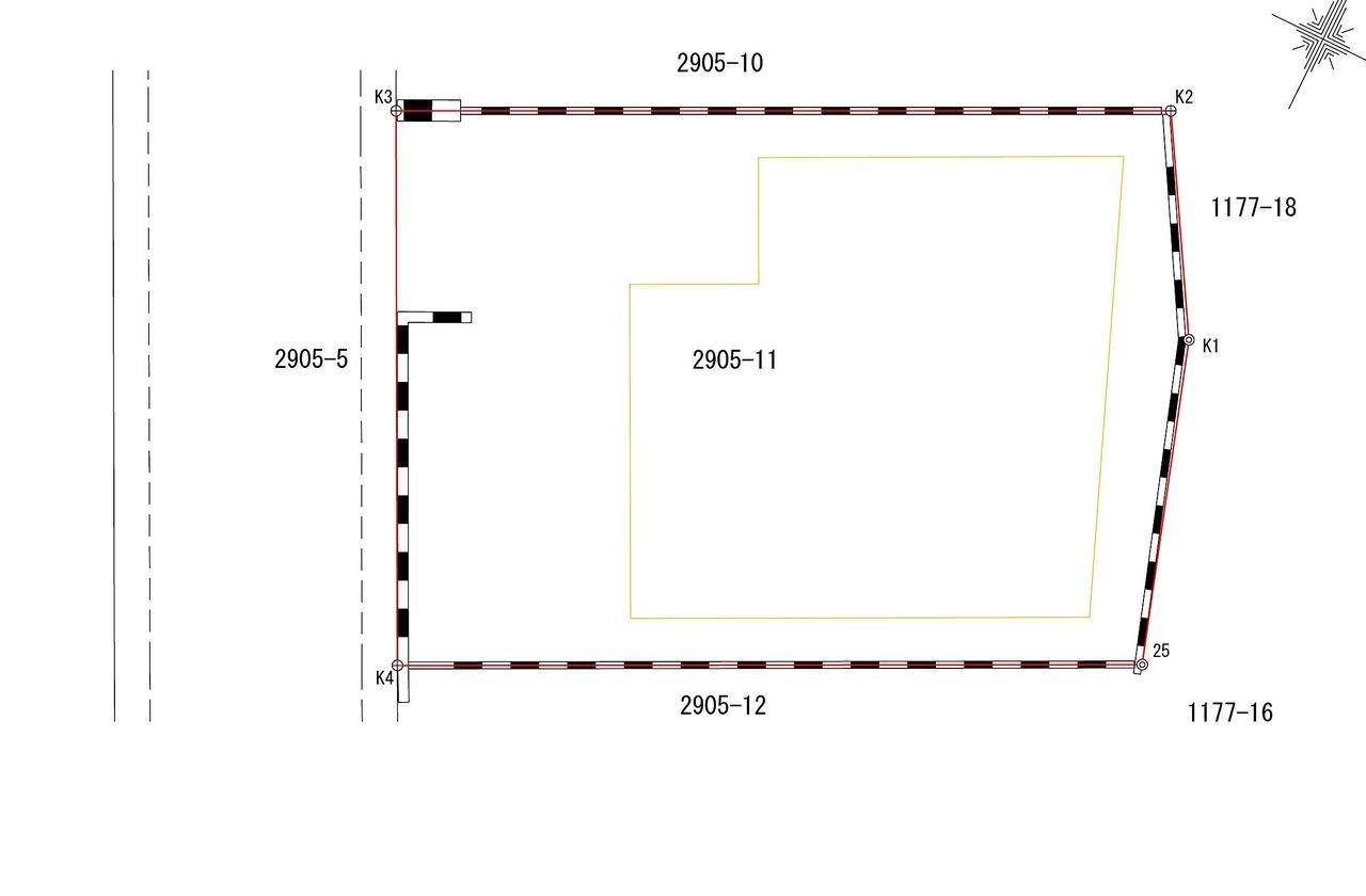 土地と建物の形、境界の位置がわかる