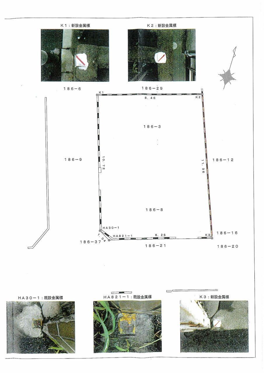 境界が示されている測量図