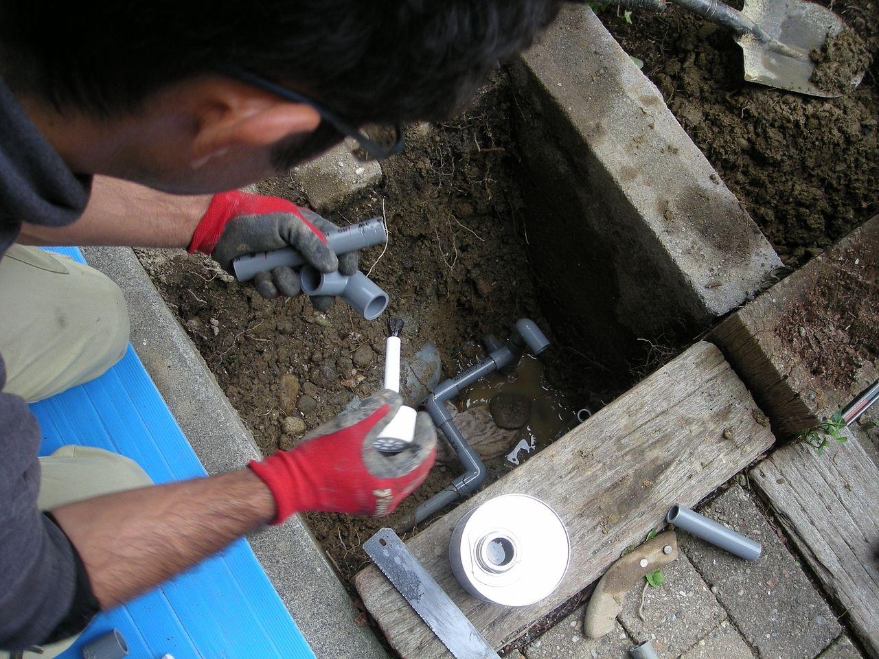 塩ビ管の敷設