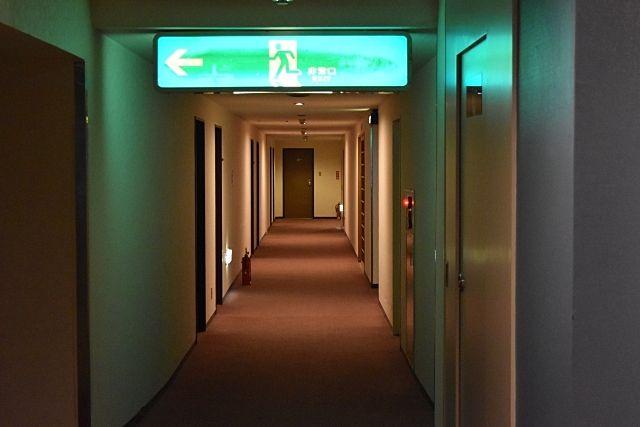 廊下の避難口を示す誘導灯