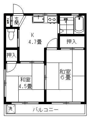 和室2つにキッチンの良くある間取です。