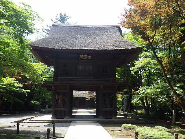 鎌倉期の作といわれる金剛力士像が両脇に