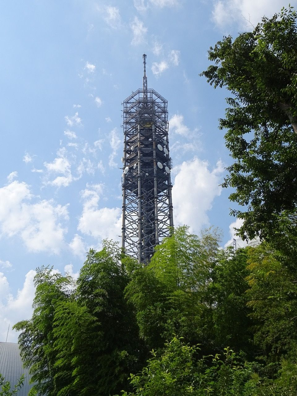 スカイタワー西東京(田無タワー)が赤くライトアップ