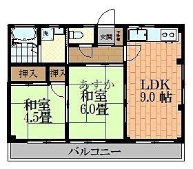 和室2室ある昔の2DKタイプ