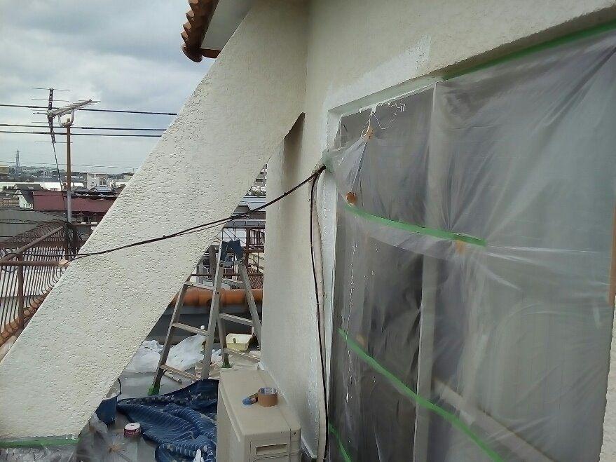上階の防水及び塗装工事施工中