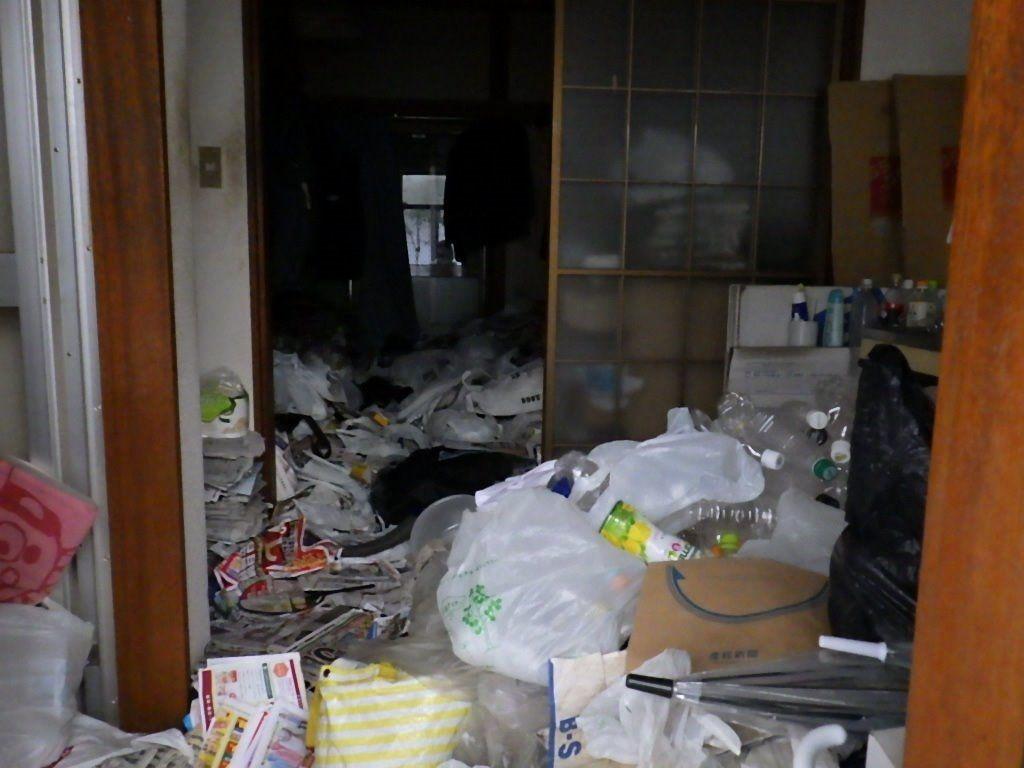 実際に玄関から部屋おくまでゴミが一杯